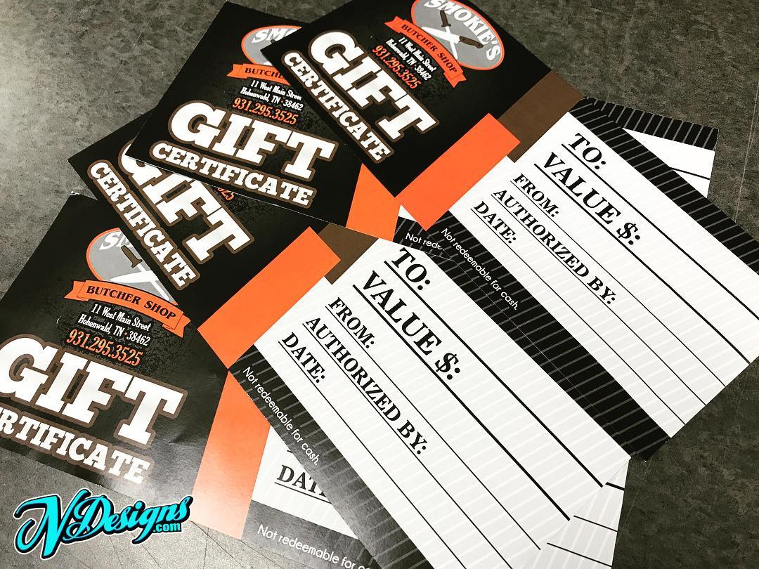 Paper Gift Certificates